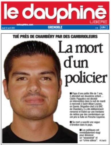Le Brigadier Chef Cédric PAPATICO 32 ans assassiné au cours d'une opération de Police par des malfrats